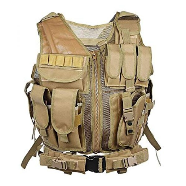 A0ZBZ Airsoft Tactical Vest 1 A0ZBZ Tactical Vest, Multi-Pocket Sports Vest, Polyester Adjustable Lightweight Combat-Vest for Games or Training, Outdoor Hunting Hiking Equipment