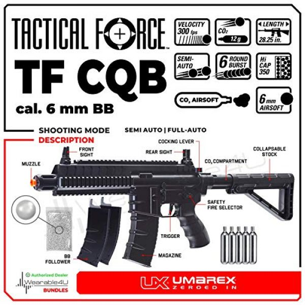 Wearable4U Airsoft Rifle 2 Umarex Tactical Force TF CQB 6mm BB Standard Action Rifle Airsoft Gun Airgun with Wearable4U Bundle
