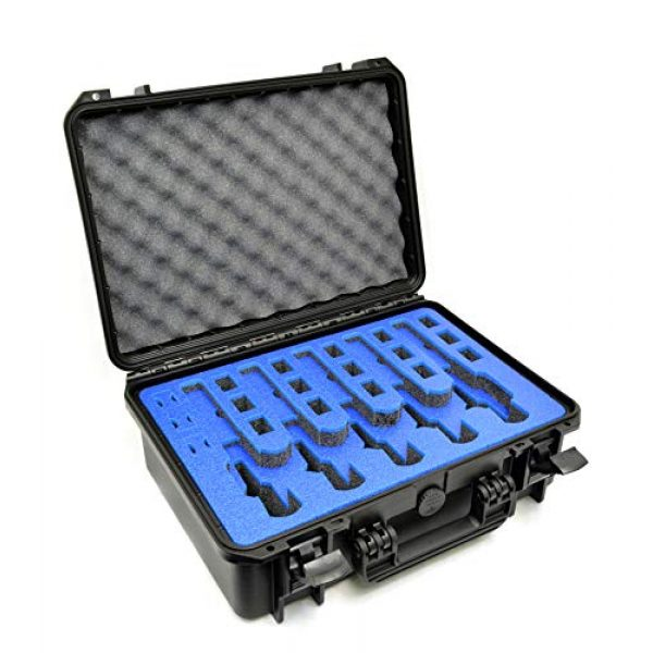 MY CASE BUILDER Pistol Case 1 5 Pistol 18 Magazine Doro Gun Case with Custom MyCaseBuilder Foam Insert - Waterproof, Heavy Duty - Tactical Firearms and Ammunition Holder, 18 x 14 x 7 Inches