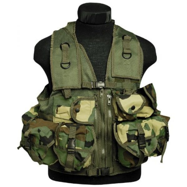 Mil-Tec Airsoft Tactical Vest 1 Tactical Patrol Military Assault Vest 9 Pockets Airsoft Webbing Woodland Camo