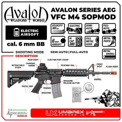 Wearable4U  2 Umarex VFC Avalon SOPMOD CQBR AEG Electric BB Full/Semi Auto Metal Airsoft Airgun with Wearable4U Bundle