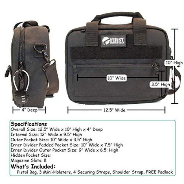 First Choice Gear Pistol Case 7 Pistol Case Range Bag for Handguns by FirstChoice - 2 to 4 Gun Padded Tactical Handgun Shooting Soft Case, Lockable Zippers w/Padlock, 3 Mini-Holsters, 8 Mag Slots, 4 Pockets, w/Range Mat