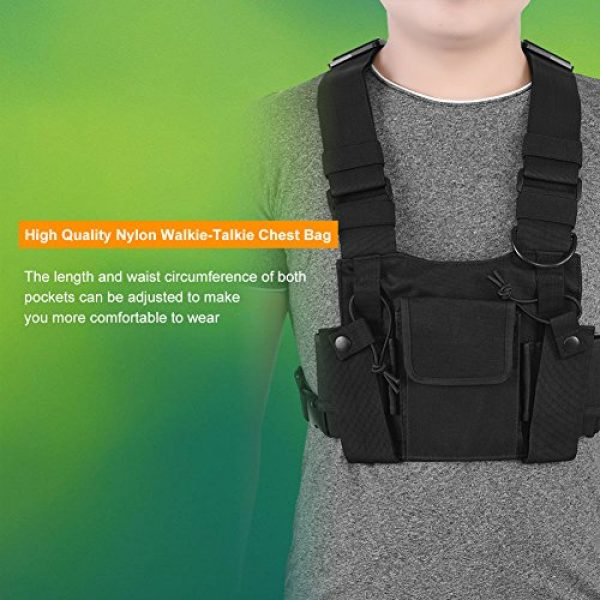 Hakeeta Airsoft Tactical Vest 2 Hakeeta Walkie-Talkie Chest Bag, Nylon Chest Front Pack,Chest Harness.Universal Adjustable Bag with Three-Ring Adjustment Strap System for Rescue, Police, Duty and Workshopps