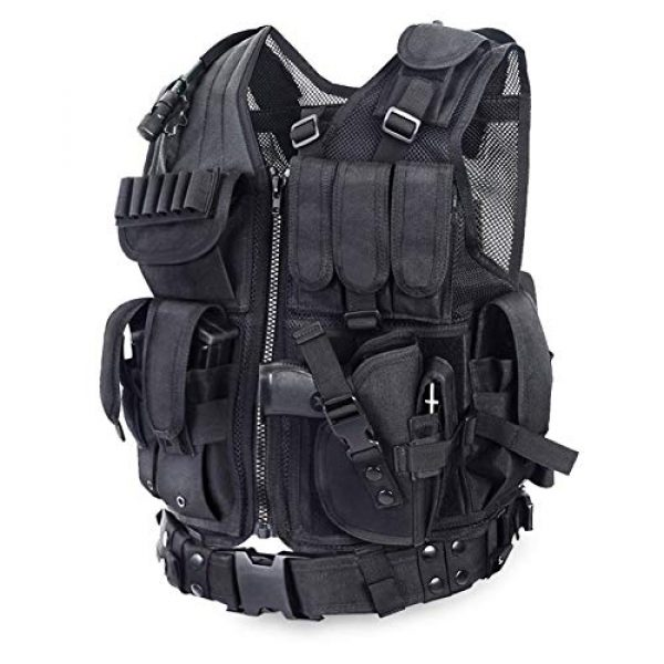 GXYWAN Airsoft Tactical Vest 7 GXYWAN Tactical CS Field Vest Paintball Training Airsoft Ultra-Light Breathable Combat Adjustable Vest(Black)