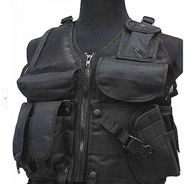 DHLink Airsoft Tactical Vest 1 Tactical Military Hunting Combat Vest with Pistol Gun Holster Pouch Black