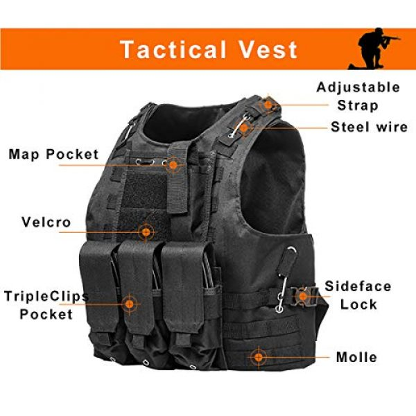 KIDYBELL Airsoft Tactical Vest 5 KIDYBELL Black Adjustable Airsoft Vest Lightweight Oxford Cloth Tactical Training Vest is Suitable for Outdoor Hunting Army Fan Combat Training Airsoft and Other Outdoor Sports