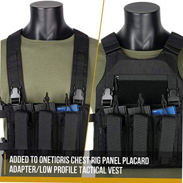 OneTigris Airsoft Tactical Vest 7 OneTigris Mini Chest Rig & Triple Kangaroo Mag Pouch Tactical Placard 02 (Black)