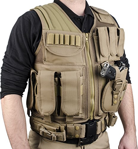 Loaded Gear Airsoft Tactical Vest 4 Loaded Gear New Tactical Vest Light Outdoor Training Vest Adjustable for Adults (Tan)