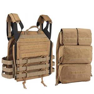 DETECH Airsoft Tactical Vest 1 DETECH Tactical JPC MOLLE Vest with Backpack Expand Bag for Airsoft Paintball Hunting