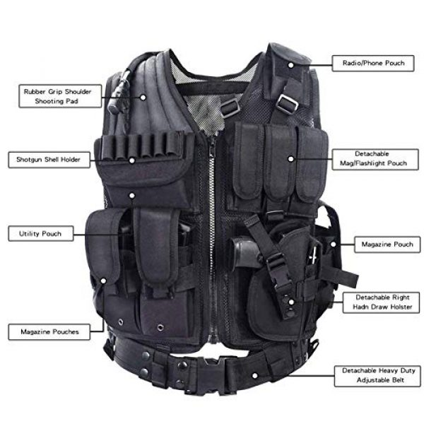 GXYWAN Airsoft Tactical Vest 2 GXYWAN Tactical CS Field Vest Paintball Training Airsoft Ultra-Light Breathable Combat Adjustable Vest(Black)