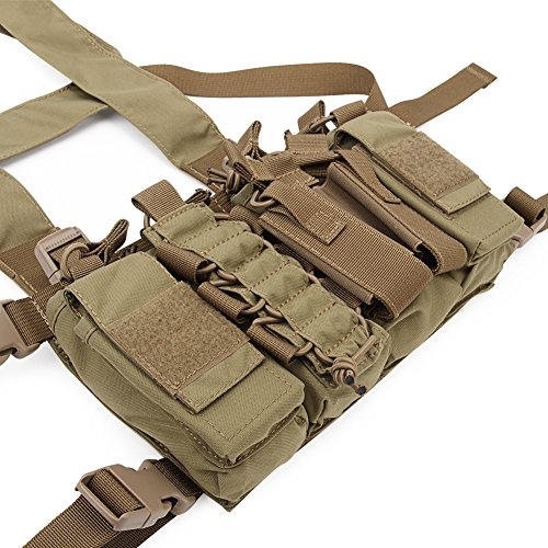 DETECH Airsoft Tactical Vest 5 DETECH Tactical Chest Rig Combat Recon Gear Vest with Magazine Pouch for Airsoft Hunting Games