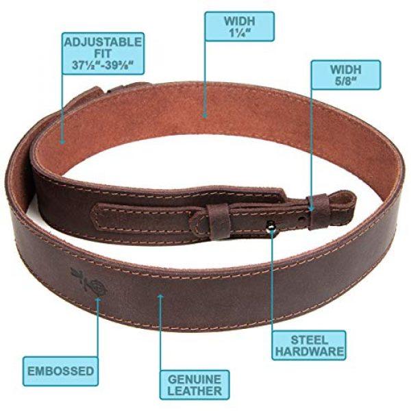 Free2Buy Airsoft Gun Sling 2 Free2Buy Rifle Sling Gun Shoulder Genuine Leather Adjustable Belt for Hunting Outdoor Tactical Shotgun Sling Strap Shotgun Embossed