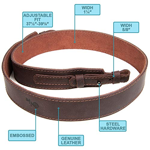 Free2Buy  2 Free2Buy Rifle Sling Gun Shoulder Genuine Leather Adjustable Belt for Hunting Outdoor Tactical Shotgun Sling Strap Shotgun Embossed