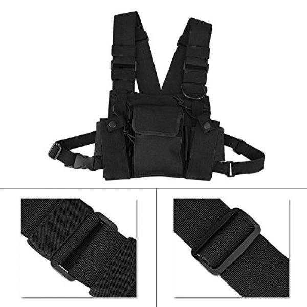 Hakeeta Airsoft Tactical Vest 5 Hakeeta Walkie-Talkie Chest Bag, Nylon Chest Front Pack,Chest Harness.Universal Adjustable Bag with Three-Ring Adjustment Strap System for Rescue, Police, Duty and Workshopps