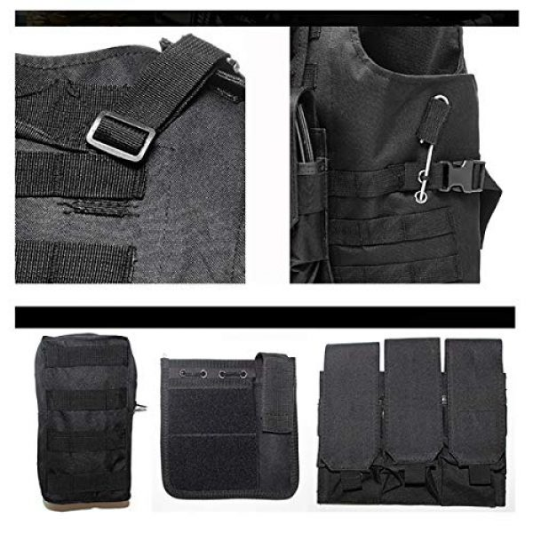 KIDYBELL Airsoft Tactical Vest 7 KIDYBELL Black Adjustable Airsoft Vest Lightweight Oxford Cloth Tactical Training Vest is Suitable for Outdoor Hunting Army Fan Combat Training Airsoft and Other Outdoor Sports