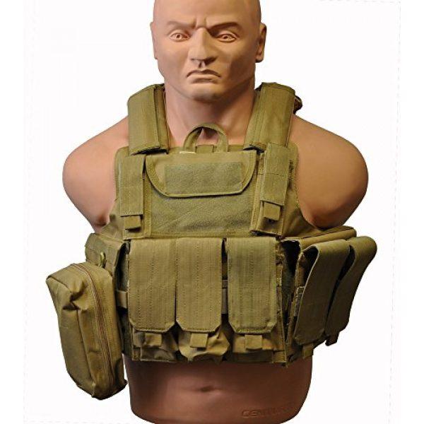 KTW Products Airsoft Tactical Vest 1 KTW Law Enforcement Military Airsoft Tactical Molle Vest M-XL w/Multiple Pouches (TAN)