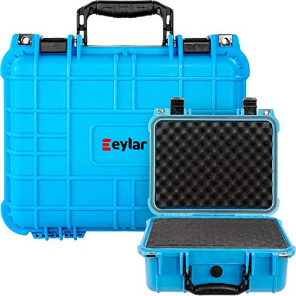 Eylar Pistol Case 6 Eylar Tactical Hard Gun Case Water & Shock Proof with Foam 13.37 inch 11.62 inch 6 inch Light Blue