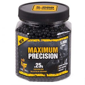 Game Face  1 GameFace 25GPB5J Maximum Precision Heavy-Weight .25-Gram Black Airsoft BBs (5000-Count)