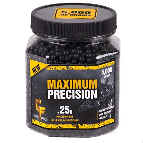Game Face Airsoft BB 1 GameFace 25GPB5J Maximum Precision Heavy-Weight .25-Gram Black Airsoft BBs (5000-Count)