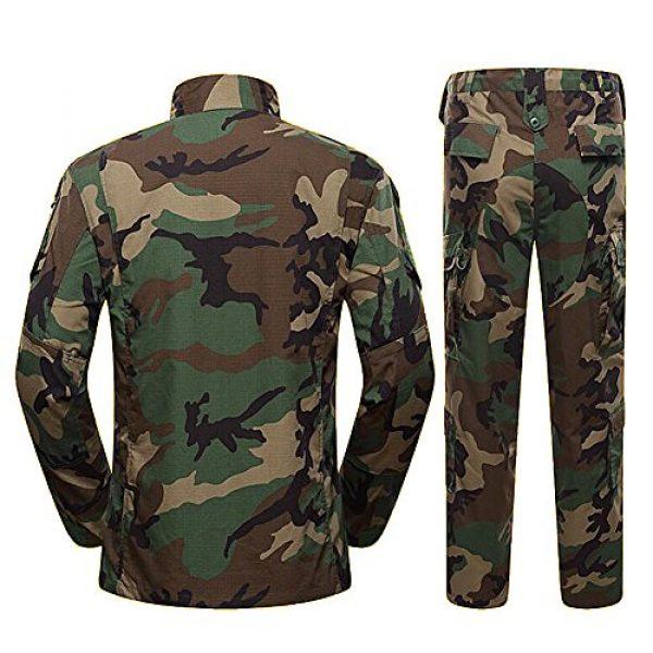 H World Shopping Tactical Shirt 3 H World Shopping Military Tactical Mens Hunting Combat BDU Uniform Suit Shirt & Pants with Belt Woodland Camo
