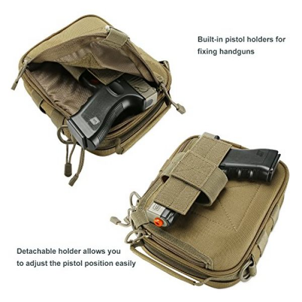 ProCase Pistol Case 5 ProCase Pistol Bag, Military Gear Tactical Handgun Shoulder Strap Bag Gun Ammo Accessories Pouch Shooting Range Duffle Bag for Shooting Range Sport -Khaki