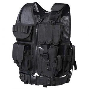WWahuayuan  1 WWahuayuan Adjustable Tactical Vest Trainning Tactical Airsoft Paintball Ultralight Breathable Combat Training Vest for Adults 600D Encryption Polyester-VT-1063
