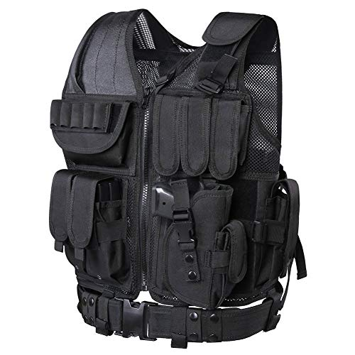 WWahuayuan Airsoft Tactical Vest 1 WWahuayuan Adjustable Tactical Vest Trainning Tactical Airsoft Paintball Ultralight Breathable Combat Training Vest for Adults 600D Encryption Polyester-VT-1063