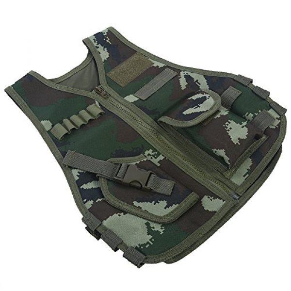 Fishlor Airsoft Tactical Vest 5 Fishlor Adjustable Camouflage Vest, Children Camouflage V-Neckline Vest with Multi Pocket for Outdoor Hunting Game(Jungle Camouflage L)