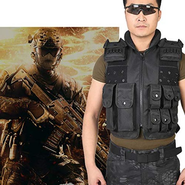 Moontie Airsoft Tactical Vest 5 Moontie Military Tactical Vest, Paintball Camouflage Molle Hunting Vest Assault Shooting Hunting Security Waistcoat