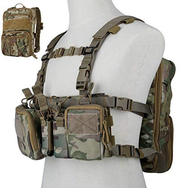 DETECH Airsoft Tactical Vest 1 DETECH Tactical Vest Airsoft Ammo Chest Rig Magazine Carrier with Molle FlatPack Assault Pack Backpack