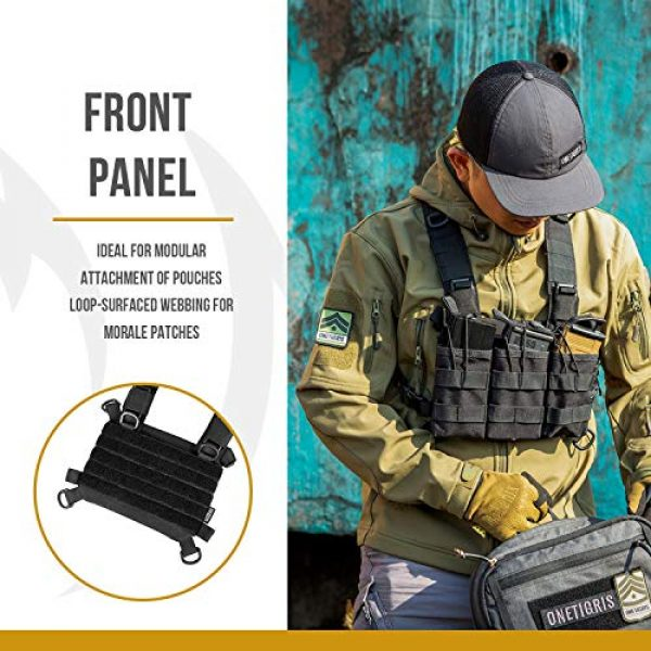 OneTigris Airsoft Tactical Vest 2 OneTigris ROC Chest Rig Tactical Modular Panel with Removable X Shoulder Strap and Mesh Backing
