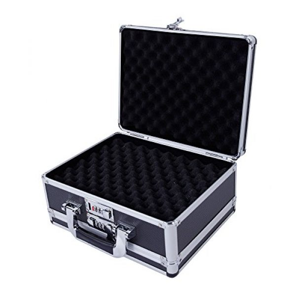 "brandless Pistol Case 4 Gun Security Safe Cabinet, Portable Aluminum Framed Gun Lock BoxDual Pistol Firearm and Valuables Safe with 3 Digits Combination Lock, Silver 11.81"" x 5.91"" x 9.05"""