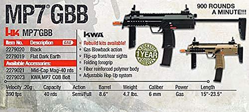 Elite Force Airsoft Rifle 4 HK Heckler & Koch MP7 GBB Automatic 6mm BB Rifle Airsoft Gun, Black