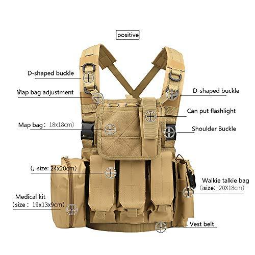 WEQ Airsoft Tactical Vest 2 WEQ Multifunctional Tactical Vest Modular Vest Reconnaissance Field CS Combat Vest (Color : #E)