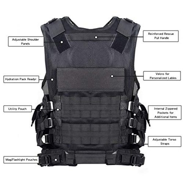 GXYWAN Airsoft Tactical Vest 3 GXYWAN Tactical CS Field Vest Paintball Training Airsoft Ultra-Light Breathable Combat Adjustable Vest(Black)