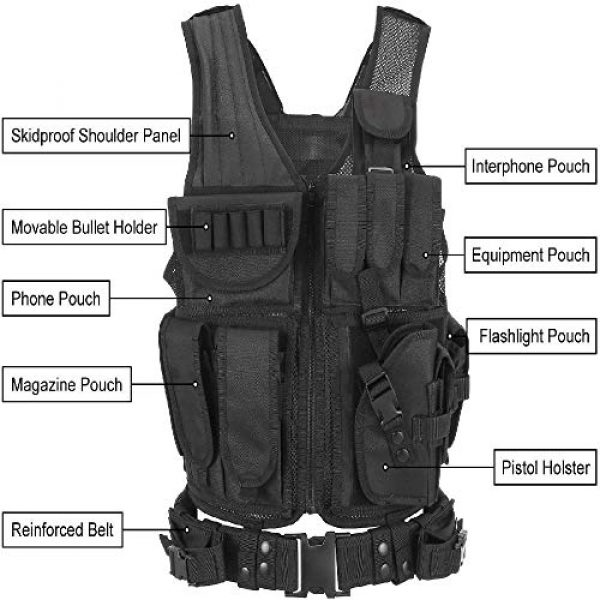 BGJ Airsoft Tactical Vest 7 Tactical Vest Adjustable Molle Swat Army Military Combat Assault Body Armor Hunting Fishing Shooting Airsoft Vest