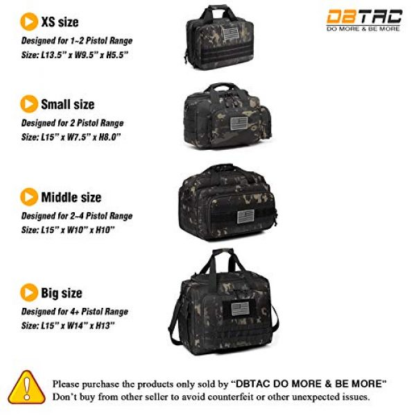 DBTAC Pistol Case 7 DBTAC DO More & BE More Gun Range Bag Small | Tactical 2X Pistol Shooting Range Duffle Bag with Lockable Zipper for Handguns and Ammo | US Flag Patch + MOLLE Pouch + Universal Holster Included
