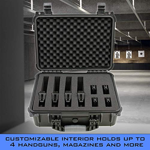 "CASEMATIX Pistol Case 3 CASEMATIX 16"" Customizable 4 Pistol Multiple Pistol Case - Waterproof & Shockproof Hard Gun Cases for Pistols, Magazines and Accessories - Multi Gun Case for Pistols with Two Layers of 2"" Thick Foam"