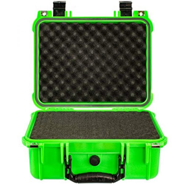 Eylar Pistol Case 2 Eylar Tactical Hard Gun Case Water & Shock Proof with Foam 13.37 inch 11.62 inch 6 inch Neon Green