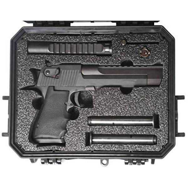 Case Club Pistol Case 2 Case Club Desert Eagle Pre-Cut Waterproof Case with Storage for 4 Extra Magazines & 1 Extra Barrel
