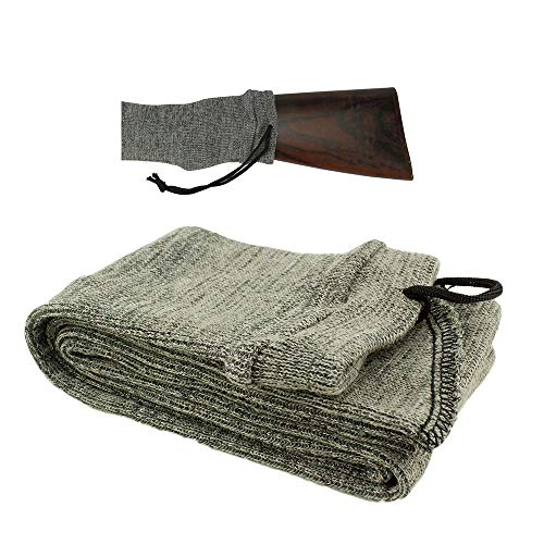 Less Side  4 Less Side Silicone Treated Gun Sleeve Knit Gun Sock for Rifle Shotgun Storage Anti Rust Extendable Soft Gun Case for Rifles with or Without Scope 52 Inches Gray