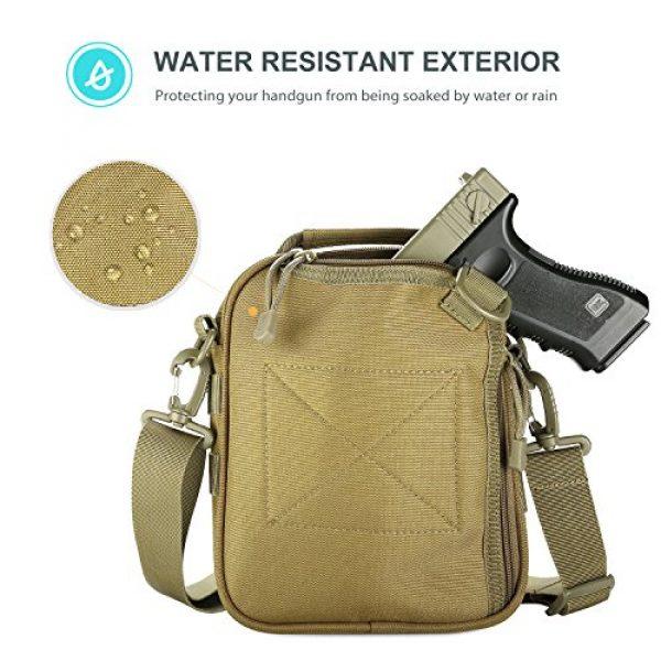 ProCase Pistol Case 4 ProCase Pistol Bag, Military Gear Tactical Handgun Shoulder Strap Bag Gun Ammo Accessories Pouch Shooting Range Duffle Bag for Shooting Range Sport -Khaki