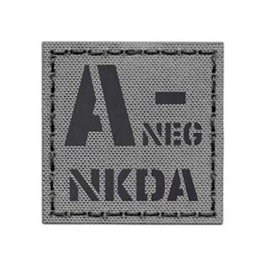 Tactical Freaky  1 IR ANEG NKDA A- Wolf Gray Grey Blood Type 2x2 Infrared Tactical Morale Hook&Loop Patch