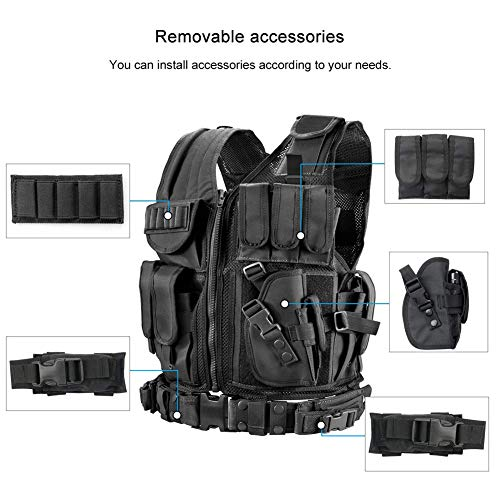 WWahuayuan Airsoft Tactical Vest 2 WWahuayuan Adjustable Tactical Vest Trainning Tactical Airsoft Paintball Ultralight Breathable Combat Training Vest for Adults 600D Encryption Polyester-VT-1063