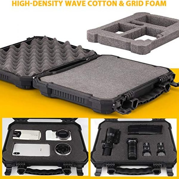 LIVANS Pistol Case 2 LIVANS Tactical Hard Travel Storage Carrying Case, Camera Carrying Cases Lockable Pistol Case Firearms Holder Weatherproof Shockproof Hard Case IP67 Level with Pick and Pluck Foam for Telescope