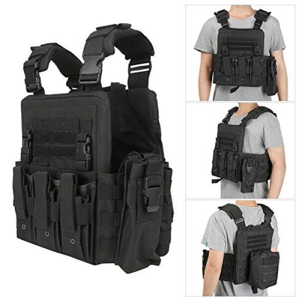 Taidda- Airsoft Tactical Vest 4 Outdoor Waistcoat, Multi Pocket Outdoor Tactics Waistcoat, Molle Tactics Camouflage/Black Adjustable Lightweight for Put Items Items
