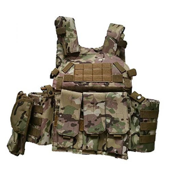 BGJ Airsoft Tactical Vest 6 Men 6094 Multicam Camo Tactical Vest Molle Modular Body Ammo Airsoft Paintball Combat Military Hunting Vest Clothes Accessories