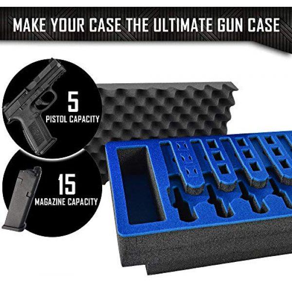 MY CASE BUILDER Pistol Case 4 Pistol & Magazine Storage Foam Insert for Apache 5800 Case -2 Piece Set Pre-Cut Military Grade Polyethylene Foam Base Insert and Lid Liner (Case Not Included)