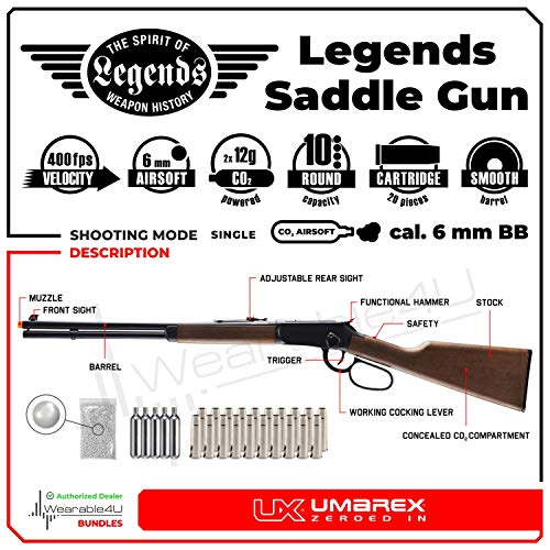 Wearable4U  2 Umarex Limited Edition - Legends Saddle Gun- Lever Action 6mm BB Airsoft Gun with Wearable4U Bundle