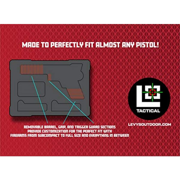 Levy's Outdoor Pistol Case 4 Levy's Outdoor Universal Waterproof and Dustproof Single Pistol Hard Case; Adjustable Foam Interior (GU-1309-03-UNV-GUN)
